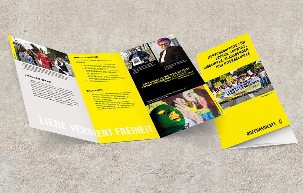 Arbeitsprobe Drucksachen Flyer Amnesty International