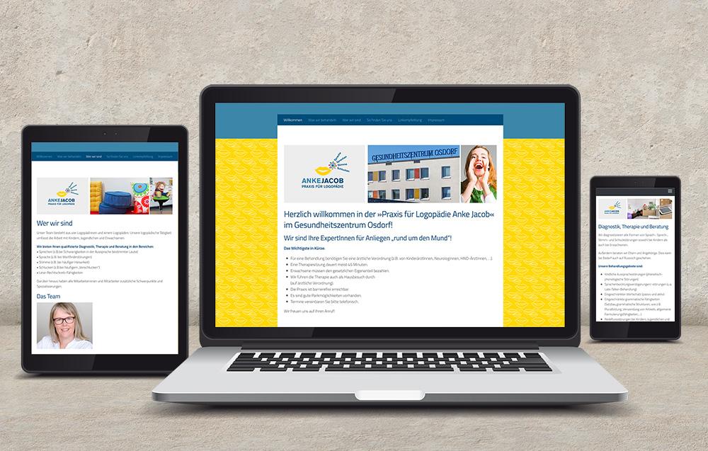 Websitegestaltung und Umsetzung fuer Logopädiepraxis Anke Jacob