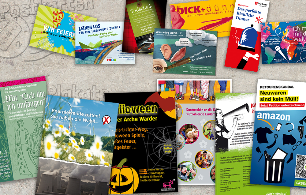 Arbeitsprobe Drucksachen Postkarten aller Art